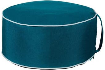 QILLOWAY Indoor/Outdoor Inflatable Stool,Round Ottoman,Foot Rest for Kids or Adults, Camping or Home (Peacock Blue)