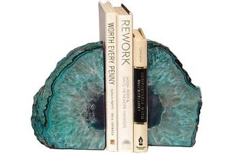 (1.4-1.8kg, Dyed Teal) - AMOYSTONE Bookends Agate Decorative Book Ends Stone for Shelves Dyed Teal with Rubber Bumpers(1 Pair, 1.4-1.8kg)