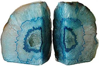 (1.8-2.7kg, Dyed Teal) - AMOYSTONE Stone Book Ends Support Agate Office Art Bookend Heavy Duty Dyed Teal Colour (1 Pair, 1.8-2.7kg)