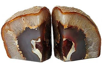 (1.4-1.8kg, Nature Brown) - AMOYSTONE Agate Bookends Shelve Decor Stone Book Ends for Heavy Books Nature Brown with Rubber Bumper(1 Pair, 1.4-1.8kg)