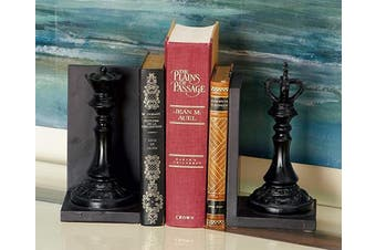 Deco 79 44754 Polystone King and Queen Chess Bookend Pair, 13cm x 20cm