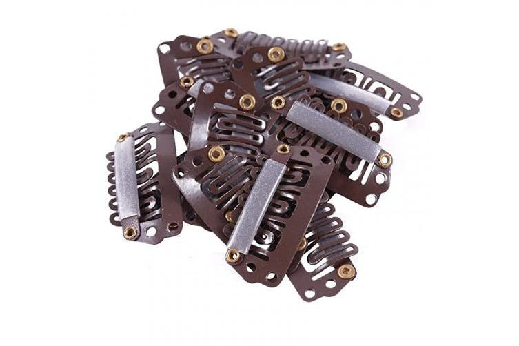 Royee 20 Pcs Wig Clips 6 Teeth Small Metal 28 mm U Shape Comb Clip for Women Girl Long Hair Extension DIY Hair Accessories (Brown)