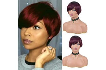 (OT99J) - Short Pixie Cut Straight Hair Wig Brazilian unprocessed Human Hair Wigs For Black Women Machine Made cheap Human Hair BOB Wigs . OT99J)