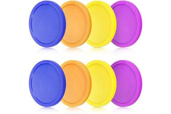 8 Pieces Air Hockey Pucks Replacement Round Pucks for Game Tables, Equipment, Accessories (Blue, Yellow, Purple, Orange, 8.1cm )