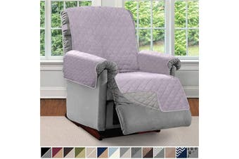 (Large, Purple/Light Gray) - Sofa Shield Original Patent Pending Reversible Large Recliner Protector, Seat Width to 70cm , Furniture Slipcover, 5.1cm Strap, Reclining Chair Slip Cover Throw for Pets, Recliner, Purple Lt Grey