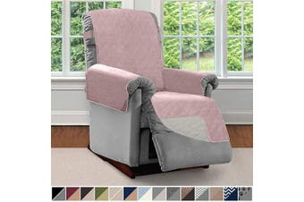 (Small, Dusty Rose/Linen) - SOFA SHIELD Original Patent Pending Reversible Small Recliner Protector, Seat Width to 60cm , Furniture Slipcover, 5.1cm Strap, Reclining Chair Slip Cover Throw for Pets, Recliner, Dusty Rose Linen