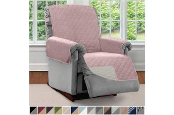 (Large, Dusty Rose/Linen) - SOFA SHIELD Original Patent Pending Reversible Large Recliner Protector, Seat Width to 70cm , Furniture Slipcover, 5.1cm Strap, Reclining Chair Slip Cover Throw for Pets, Recliner, Dusty Rose Linen