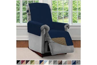 (Small, Navy/Sand) - Sofa Shield Original Patent Pending Reversible Small Recliner Protector, Seat Width up to 60cm , Furniture Slipcover, 5.1cm Strap, Reclining Chair Slip Cover Throw for Pets, Recliner, Navy Sand