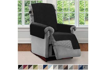 (Small, Black/Gray) - Sofa Shield Original Patent Pending Reversible Small Recliner Protector, Seat Width up to 60cm , Furniture Slipcover, 5.1cm Strap, Reclining Chair Slip Cover Throw for Pets, Recliner, Black Grey