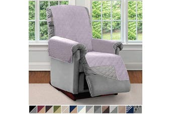 (Small, Purple/Light Gray) - Sofa Shield Original Patent Pending Reversible Small Recliner Protector, Seat Width to 60cm , Furniture Slipcover, 5.1cm Strap, Reclining Chair Slip Cover Throw for Pets, Recliner, Purple Lt Grey
