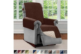 (Small, Chocolate/Beige) - Sofa Shield Original Patent Pending Reversible Small Recliner Protector, Seat Width to 60cm , Furniture Slipcover, 5.1cm Strap, Reclining Chair Slip Cover Throw for Pets, Recliner, Chocolate Beige