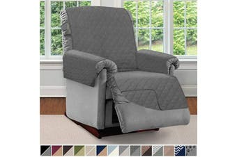 (Large, Charcoal/Charcoal) - Sofa Shield Original Patent Pending Reversible Large Recliner Protector, Seat Width to 70cm , Furniture Slipcover, 5.1cm Strap, Reclining Chair Slip Cover Throw for Pets, Recliner, Charcoal