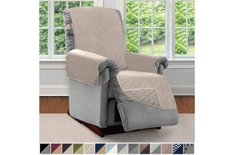 (Small, Light Taupe/Light Taupe) - Sofa Shield Original Patent Pending Reversible Small Recliner Protector, Seat Width to 60cm , Furniture Slipcover, 5.1cm Strap, Reclining Chair Slip Cover Throw for Pets, Recliner, Light Taupe