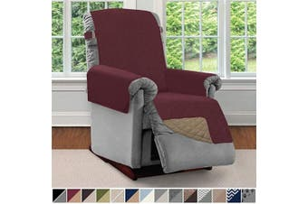 (Small, Burgundy/Tan) - Sofa Shield Original Patent Pending Reversible Small Recliner Protector, Seat Width up to 60cm , Furniture Slipcover, 5.1cm Strap, Reclining Chair Slip Cover Throw for Pets, Recliner, Burgundy Tan