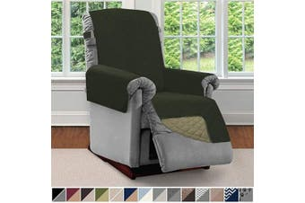 (Small, Hunter Green/Sage) - Sofa Shield Original Patent Pending Reversible Small Recliner Protector, Seat Width to 60cm , Furniture Slipcover, 5.1cm Strap, Chair Slip Cover Throw for Pets, Recliner, Hunter Green Sage