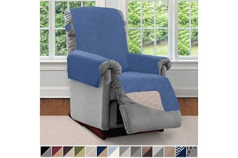 (Small, Denim/Light Taupe) - Sofa Shield Original Patent Pending Reversible Small Recliner Protector, Seat Width to 60cm , Furniture Slipcover, 5.1cm Strap, Reclining Chair Slip Cover Throw for Pets, Recliner, Denim Lt Taupe