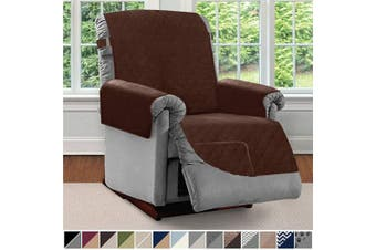 (Large, Chocolate/Chocolate) - Sofa Shield Original Patent Pending Reversible Large Recliner Protector, Seat Width Up to 70cm , Furniture Slipcover, 5.1cm Strap, Reclining Chair Slip Cover Throw for Pets, Recliner, Chocolate
