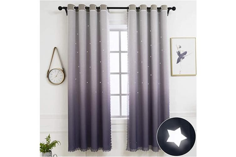 Hughapy Star Curtains Ombre Blackout Curtains For Kids Girls Bedroom Living Room Double Layer Star Cut Out Sparkle Blackout Gradient Window Curtains 1 Panel 42w X 84l Grey Matt Blatt