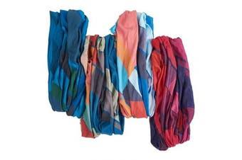"(Wander Geometric) - Bamboo Trading Company Boho Wide Headbands - Set of 4 Wander Geometric Print Headwraps - 16"" L x 9"" W - Blue, Red, Pink, Purple, Aqua Tones"
