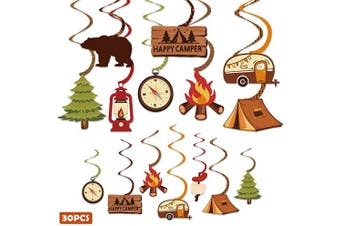 30CT Happy Camper Party Hanging Swirls Decoration Camping Kids Birthday Photo Props Ideas Tent Cutouts Adventure S'more Whirls Signs Baby Shower Favour Supplies