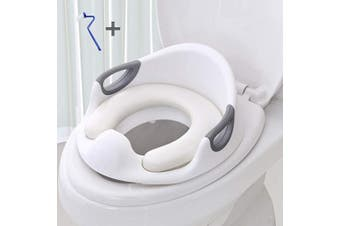 Foho Potty Training Seat for Kids Boys Girls Toddlers, Double Non-Slip Design and Splash Guard Toilet Seat for Baby with Soft Cushion Handle Backrest Toilet Trainer for Round and Oval Toilets (White)
