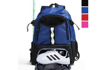 (Blue) - Athletico Youth Lacrosse Bag - Extra Large Lacrosse Backpack - Holds All Lacrosse or Field Hockey Equipment - Two Stick Holders and Separate Cleats Compartment