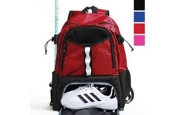 (Red) - Athletico Youth Lacrosse Bag - Extra Large Lacrosse Backpack - Holds All Lacrosse or Field Hockey Equipment - Two Stick Holders and Separate Cleats Compartment