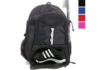 (Black) - Athletico Youth Lacrosse Bag - Extra Large Lacrosse Backpack - Holds All Lacrosse or Field Hockey Equipment - Two Stick Holders and Separate Cleats Compartment