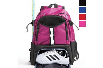 (Pink) - Athletico Youth Lacrosse Bag - Extra Large Lacrosse Backpack - Holds All Lacrosse or Field Hockey Equipment - Two Stick Holders and Separate Cleats Compartment