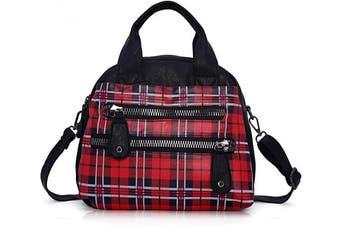 (Red/Black) - Angel Barcelo Women Fashion Handbag Soft Leather Handbags Multi-Compartments Cross Body Shoulder Bag Tote Purse