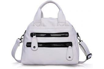 (White) - Angel Barcelo Women Fashion Handbag Soft Leather Handbags Multi-Compartments Cross Body Shoulder Bag Tote Purse
