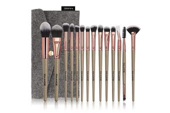 (Champagne) - Makeup Brushes, 14Pcs Makeup Brush Set Premium Synthetic Foundation Powder Eye shadows Brushes for Makeup with Cosmetic Bag for Women Girl (Champagne)
