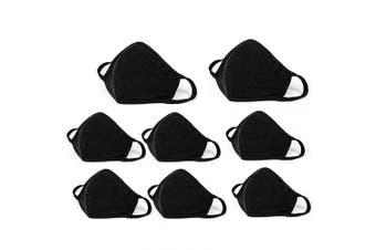 8PCS Face Covering, Mouth Covering Unisex Black Dust Cotton, Washable, Reusable Cotton Fabric Dust Covering
