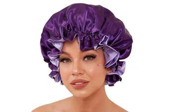 Satin Bonnet for Natural Hair, Silk Bonnet for Curly Hair Bonnets for Black Women,Silk Hair Wrap for Sleeping Satin Hair Bonnet for Sleeping(Deep Purple)