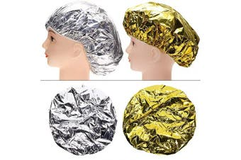 Tupalizy 4PCS Deep Conditioning Heat Cap Aluminium Foil Shower Cap for Women Natural Hair Dying Lifting Colour Hot Oil Treatments Processing Caps for Nourishing Hair Salon Spa Home Use, Gold and Silver