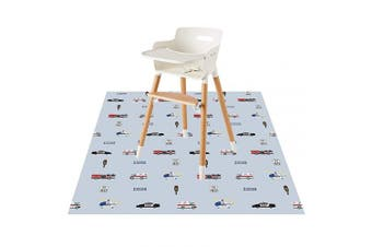 (Auto) - Baby Splat Floor Mat for Under High Chair/Arts/Crafts by CLCROBD, 130cm Waterproof Anti-Slip Food Splash Spill Mess Mat, Washable Floor Protector Mat and Table Cloth