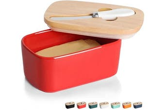(Red) - GDCZ Ceramics Butter Dish - Large Porcelain Butter Holder with Wooden Lid and Steel Knife(2 Sticks of Butter) (Red)