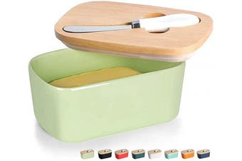 (Chartreuse) - GDCZ Ceramics Butter Dish - Large Porcelain Butter Holder with Wooden Lid and Steel Knife(2 Sticks of Butter) (Chartreuse)