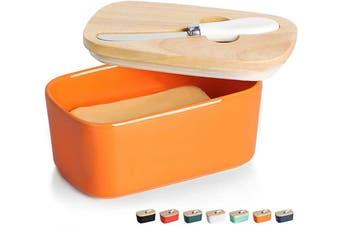 (Orange) - GDCZ Ceramics Butter Dish - Large Porcelain Butter Holder with Wooden Lid and Steel Knife(2 Sticks of Butter), Orange