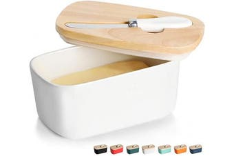 (White) - GDCZ Ceramics Butter Dish - Large Porcelain Butter Holder with Wooden Lid and Steel Knife(2 Sticks of Butter),White