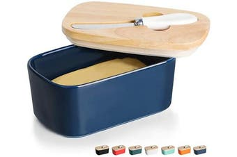 (Navy) - GDCZ Ceramics Butter Dish - Large Porcelain Butter Holder with Wooden Lid and Steel Knife(2 Sticks of Butter) (Navy)