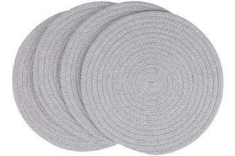 (30cm , Light Gray) - SHACOS Cotton Rope Round Placemats Set of 4 Heat Resistant Thick Braided Placemats 30cm Hot Pads Absorbent Table Mats for Dining Tables (Light Grey, 30cm )