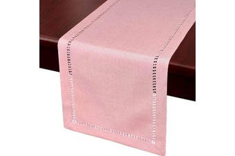 (14x72, Pink) - Grelucgo Handcrafted Solid Colour Dining Table Runner, Dresser Scarf, Double-Hemstitched (Pink, 14 x 72)
