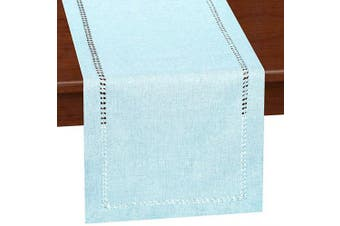(14x120, Light Blue) - Grelucgo Handcrafted Solid Colour Dining Table Runner, Dresser Scarf, Double-Hemstitched (Light Blue, 14 x 120)