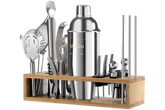710ml Cocktail Shaker Set Bartender Kit with Accessories Professional Bar Tools and Bamboo Stand (18 PCS), Made of Stainless Steel 304