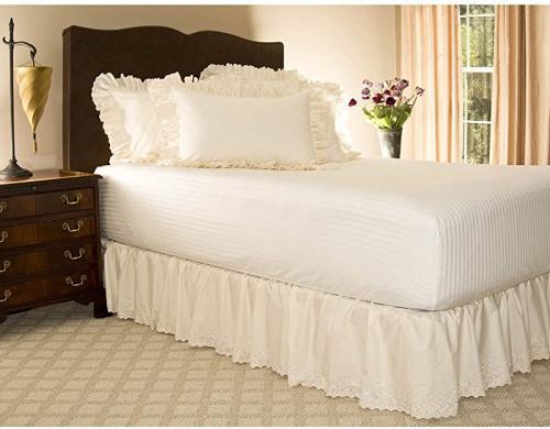 Twin Extra Long 46cm W Split Corner Bone Eyelet Ruffled Bed Skirt W Split Corners 46cm Drop Bone Twin Xl Matt Blatt