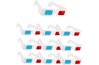 3D Glasses, 10 Pairs of Paper Red and Blue Stereo Eyeglasses for Movie Decoration