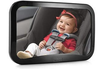 (Black) - WindGallop Baby Car Mirror for Back Seat Rear View, Baby Backseat Mirror, Baby Rear View Mirror, Baby Mirror for Rear Facing Child Seat Know that Your Baby is Safe, Shatterproof Crash Tested and Safety Certified (Black)