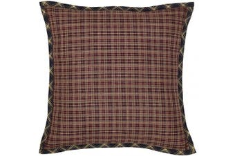 (Pillow 16x16) - VHC Brands Rustic Beckham Cotton Plaid Square Cover Pillow Insert Bedding Accessory, 16x16, Rust Red