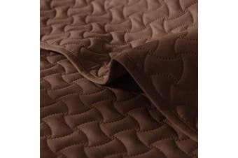 (Twin, Brown) - Deconovo Luxurious 2 Piece Quilt Set Microfiber Geometric Pattern Ultra Soft Bedspread Coverlet with Shams Twin Brown